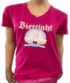 Oktoberfest t-shirt dames roze met print Biertjuh?