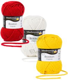 Breigaren Boston in de Oeteldonkse kleuren rood wit geel
