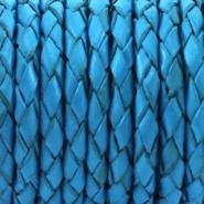 DQ leer rond gevlochten 4 mm Diep aqua blauw