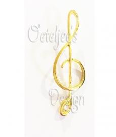 Broche muzieknoot goud
