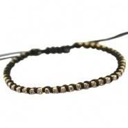 Armbandje zwart satijnkoord met strass en kraaltjes