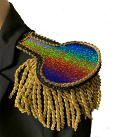 Epauletten luxe  regenboog glitter met goud franje 7cm