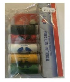 Pakketje naaigaren Oeteldonkse kleuren, naalden, vingerhoedje, textiellijm