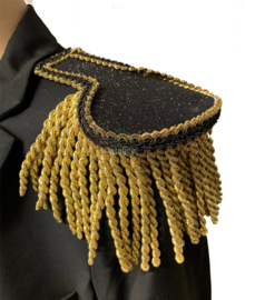 Epauletten luxe zwart glitter met goud franje 7cm