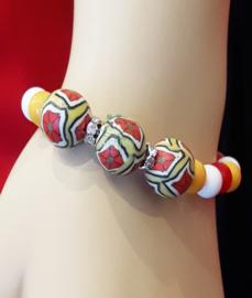 Dames armband Oeteldonk rood wit geel en strass