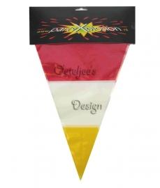 Vlaggenlijn / slingers Oeteldonk rood wit geel 10m