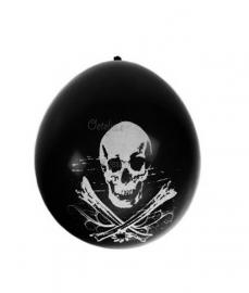 Ballonnen doodshoofd piraat (per 8)