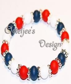 Armband - Rood wit blauw met zilverkleurige spacertjes