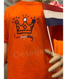 Oranje Koningsdag shirt kind met of zonder opdruk kroon