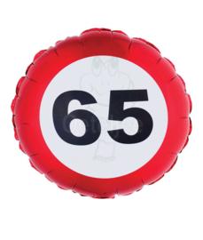 Folie ballon verkeersbord 65 jaar