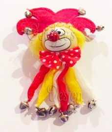 Carnavals broche Oeteldonkse clown met belletjes
