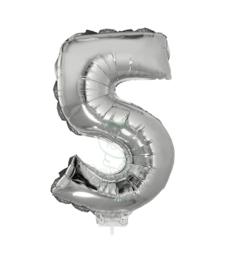 Folie ballon zilver cijfer 5 (41 cm)