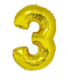 Folie ballon goud cijfer 3 (100 cm)