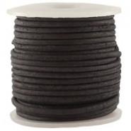 DQ Leer rond 3 mm Vintage zwart