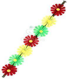 Hoofdbandje met rood geel groene bloemetjes