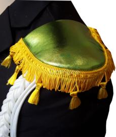 Epauletten Kruikenstad groen glans met geel flosjesband smal
