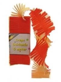 Crepepapier (guirlande) rood wit geel (5 m)