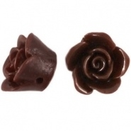 Kraal roos 12 mm donker bruin