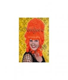 Pruik hofdame oranje