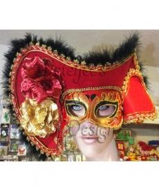Oogmasker venetië dames rood met hoed