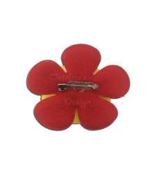 Corsage bloem Oeteldonk rood wit geel (met stip)
