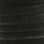 DQ Leer suede Zwart 3mm