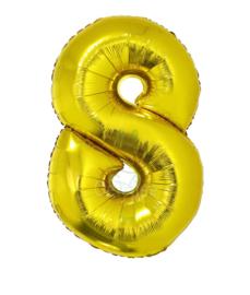 Folie ballon goud cijfer 8 (100 cm)