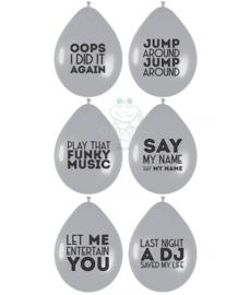 Latex ballonnen met party text quotes (grijs)