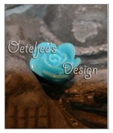 Roosje met rijggat aqua blauw