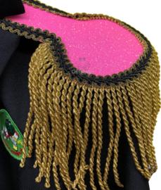 Epauletten luxe pink glitter met goud franje