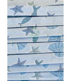 Biasband blauw zee motief - kant en klaar (10m)