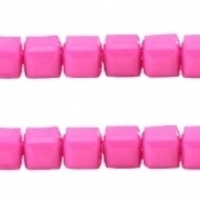 Acryl kralen facet kubus Fuchsia pink