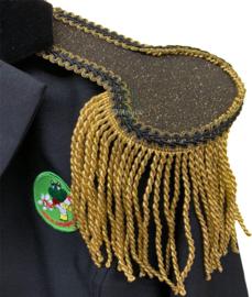 Epauletten luxe zwart-goud glitter met goud franje
