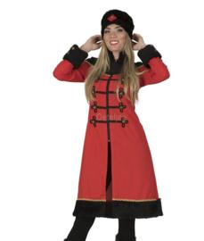 Uniformjas lang rood met bont en muts