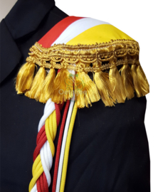 Epauletten Oeteldonk rood wit geel met goud flosjesband