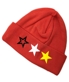 Oeteldonks babymutsje rood met sterren