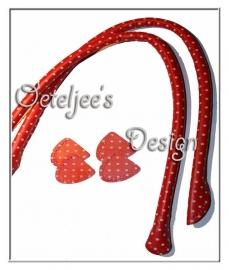 Tashengsel schoudertas leatherlook rood stip