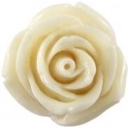 Kraal roos 11 mm Ivoor wit