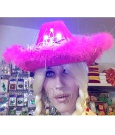 Cowboyhoed roze met licht effect