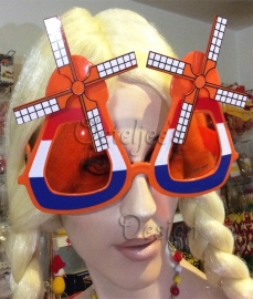 "Party zonnebril Oranje ""molentjes"" rood wit blauw"