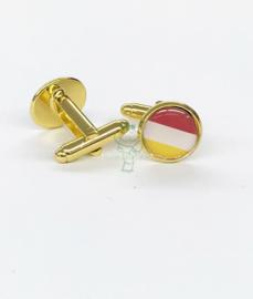 Oeteldonkse manchetknopen rood wit geel goud