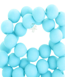 Acryl kralen mat rond 6 mm aqua bleu