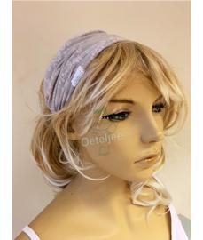 """Haarband / bandana """"licht grijs met bloemetjes motief"""""""
