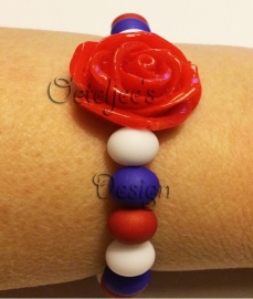 Armband Holland rood wit blauw met roos