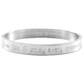 Stainless steel armband met tekst:  'love life & enjoy every moment'