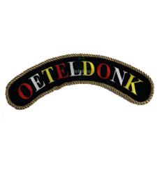 Embleem Oeteldonk boog rood wit geel met gouden paspelband 30 cm