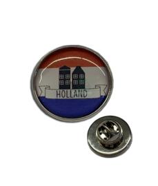 Pinnetje Holland rood wit blauw Amsterdamse huisjes