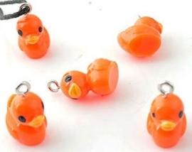 Hanger/bedeltje eend oranje