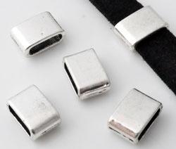 Metalen schuifkraal oudzilverkleur breed