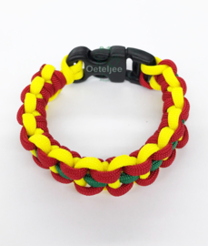 Paracord armband rood geel groen